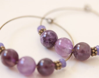 Amethyst Beaded Hoop Earrings, gemstone earrings, trendy earrings, boho chic, gypsy bohemian, February birthstone, boho jewelry