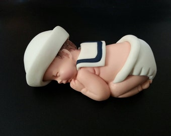 """Fondant XLarge 4"""" inches sailor baby cake topper(customizable)"""