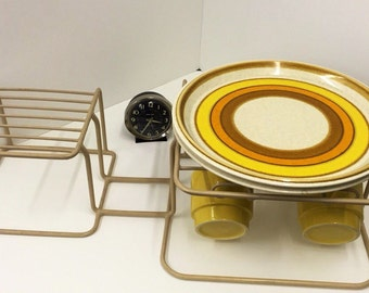 Mid Century Tan Rubber Coated Plate Rack