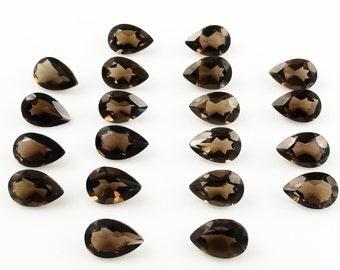 10 Pieces Lot Smoky Quartz Pear Faceted Cut Loose Gemstone