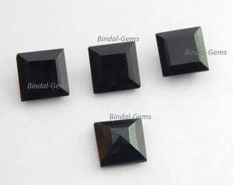 15 Pieces Whoelsale Lot Black Onyx Square Shape Faceted Cut Gemstone For Jewelry