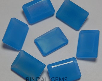 Lot 15 Pieces Blue Chalcedony Octagon Shape Faceted Cut Loose Gemstone