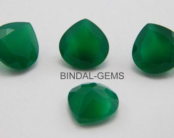15 Pieces Wholesale Lot Wonderful Green Onyx Heart Shape Faceted Cut Gemstone For Jewelry