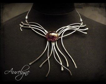 "Stainless Necklace Constellation ""Simmah"" stone mystical dreamlike fairy elven Amethyst"