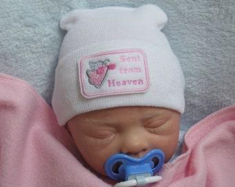 Newborn Hospital Hat. Newborn Coming Home. Newborn Girl Hat. Sent from Heaven Embroidery
