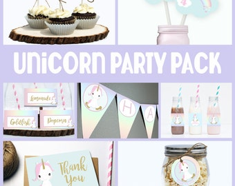 Rainbow Unicorn Birthday Party Pack // PERSONALIZED DIGITAL // Rainbow Unicorn Birthday Decor // Digital Printable DIY