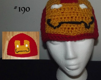 Superhero Beanie, Robot Beanie, Glow-In-The-Dark Hat, Ironman, Crochet Beanie, Photography Prop, Photo Prop, Costume, Fun Hat, Winter Hat