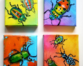 colourful beetles set of four acrylic paintings