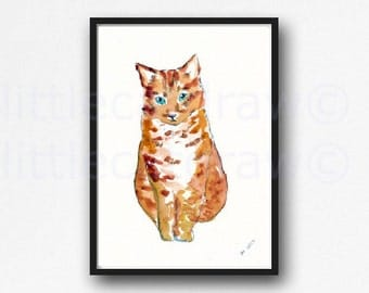 Cat Print Little Ginger Orange Cat Print Illustration Art Watercolor Painting Print Orange Cat Wall Art Unframed Print
