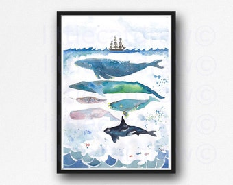 Whale Print Whales Under The Sea Watercolor Painting Whale Art Nautical Print Whales Illustration Bathroom Wall
