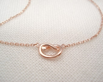 Tiny Rose gold Knot necklace...Tie the Knot bridal jewelry, simple everyday, minimalist handmade, wedding, bridesmaid gift, friendship