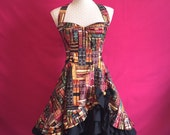Sew Novel...Library Fabric Ruffle Fronted Halter Neck Lolita Dress Custom Made to Order