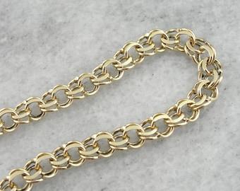 Yellow Gold Chain Link Bracelet, Double Link Charm Bracelet  H90YEM-P