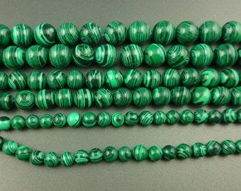 Green Malachite Beads, Malachite Gemstone Beads, Smooth Round Loose Gemstone Beads For Jewelry Making, 6mm 8mm 10mm 12mm 15''strand
