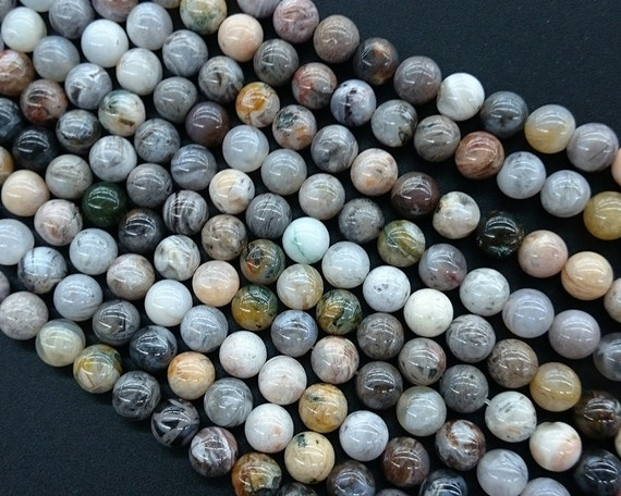 Natural Stone Beads : Natural bamboo agate stone beads gray round loose