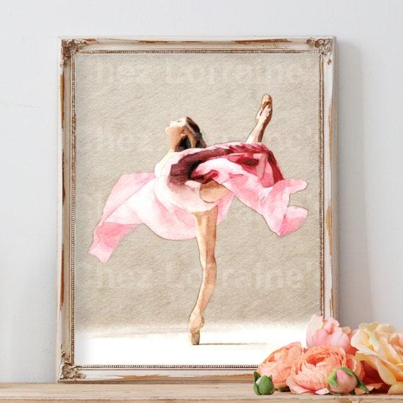 Pink Ballerina Ballet Dance Watercolor Art Print Watercolor