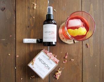 Negroni Lover's Pack - Soap Lip Balm Body Oil Set - Bitter Orange Neroli Juniper Rose - Bar Essentials All Natural