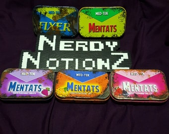 Fallout inspired Mentats OR Fixer tin with bottle caps