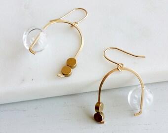 MOBILE EARRINGS | modern jewelry, gold earrings, dangle earrings, bubbles, glass earrings, minimalist jewelry |