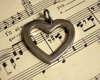 Silver Open Heart Charm