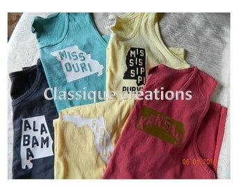 Comfort Color Tanks State - state with letters