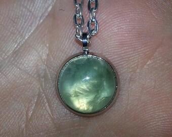 E210 Prehnite handmade gemstone pendant necklace