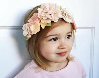 Felt flower crown, Neutral flower crown