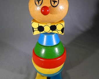 Vintage Wood Clown Stacking Blocks Toy, Circa 1980s, Made in Germany