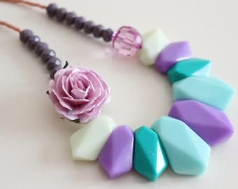 Geometric Necklace Purple Statement Necklace Flower Jewelry Unique Jewelry Retro Necklace Pink Flower Necklace FREE SHIPPING