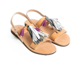 THALATTA TASSELS IV,multi-colored leather tassels sandals handcrafted in Greece