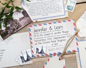 SAMPLE PACK Vintage Travel Wedding Invitations and Stationery