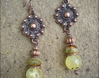 Copper Flower Shield and Prehnite Earrings