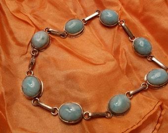 Larimar Bracelet Handcrafted In Sterling Silver 925