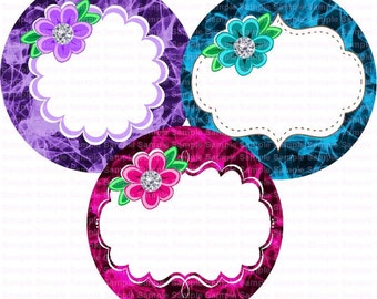 Editable Flowers (7) Bottle Cap Images 4x6 Bottlecap Collage Scrapbooking Jewelry Hairbow Center