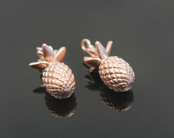 2 pieces, MARKDOWN, Pineapple charm, M7-P1, 16x8mm, Matte rose gold plated brass, Pineapple pendant