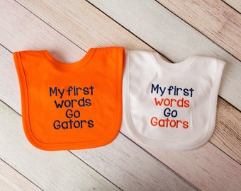 Florida Gators Baby Girl - Florida Gators Baby Boy - Florida Gator Baby Florida Gators Football Baby Bib - My first words Go Gators