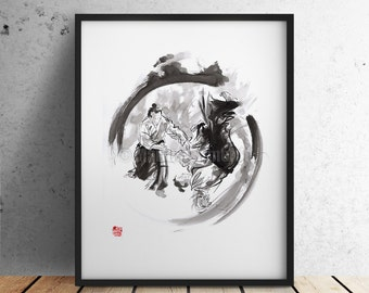 Aikido, Aikido Art Print, Martial Arts Poster, Living Room Decor, Aikido Ink Painting, Japanese Warrior Drawing