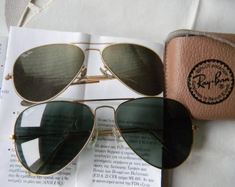 Vintage Genuine B&L Ray-Ban Aviator Sunglasses  58-14 Made in the USA.1980's. EXC*****
