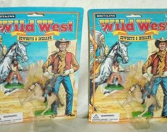 2 sets ~ 1996 Britains Wild West Cowboys & Indians Figures NIP