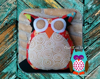 red owl pillow, tan owl pillow, forest animals, geometric pillow, red tan and white nursery decor