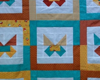 Unfinished Quilt Top Ready to Quilt Butterflies Baby Girl Throw Lap Blanket