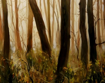 Study of Warm Morning Mist through the Dark Autumn Forest- Original Woods Landscape Oil Painting- Pacific Northwest Nature Art Trees