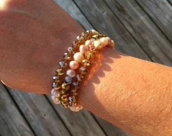 Bracelet Bundle-freshwater pearls - gold, champagne and silver crystals, -3 bracelets-stackable bracelets-7/7.25 inches