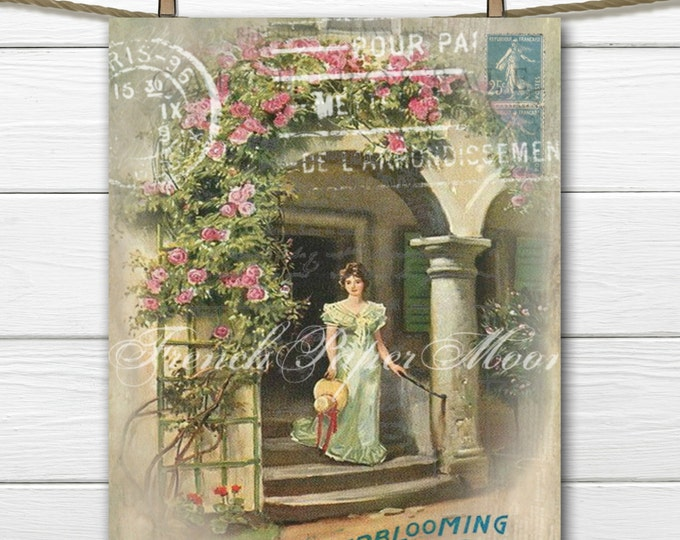 Shabby Chic Vintage French Digital Girl, Shabby Chic Roses, French Mail Clipart, French Postcard Download, French Pillow Transfer