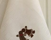 Tea Towel Dish Towel Linen Towel Kitchen Towel Hand Towel Embroidery Natural Linen White Gingerbread