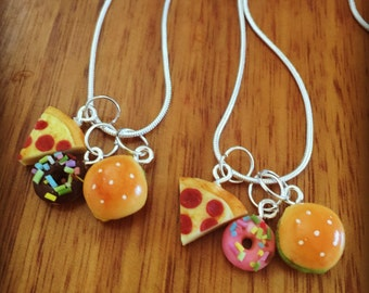 Junk Food Necklace - Miniature burger, pizza and donut charm necklace - junk food pendant - food jewelry - food jewellery - junk food