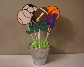 Sports Ball Centerpiecs - Set of 6