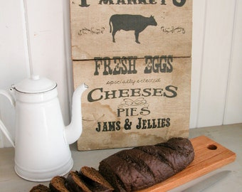 Farmhouse Wooden Bread Cutting Board Handmade of Solid Oak ~ Rustic Shabby Cottage Chic Style