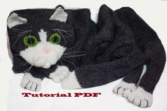 Cat Design Knitting Pattern : Cat Scarf Pattern PDF file Knitting a Cat Scarf Pattern