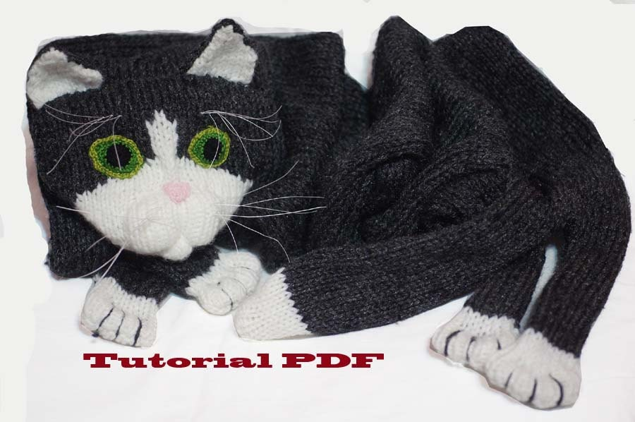 Knitted Cat Scarf Pattern : Cat Scarf Pattern PDF file Knitting a Cat Scarf Pattern